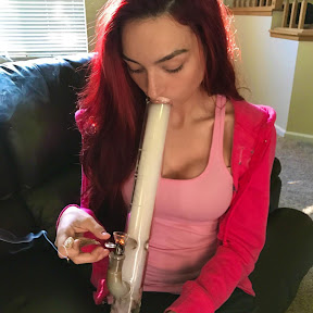 Haley smoking a bong for the profile picture of her YouTube channel