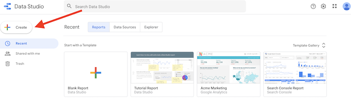 Create a data source in Google Data Studio