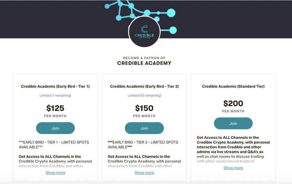 Credbly Crypto Academy Pricing Tiers